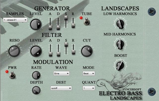 SyncerSoft Electro Bass Landscapes VSTi 1.0 - программный ромплер электробаса