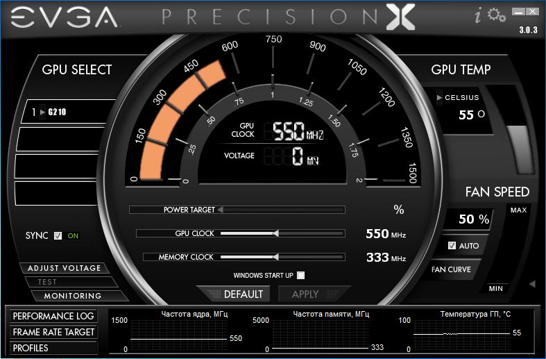 EVGA Precision X 3.0.3 - программа для разгона видеокарт скачать